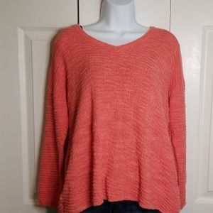 Calvin Klein Coral Textured V-neck Sweater